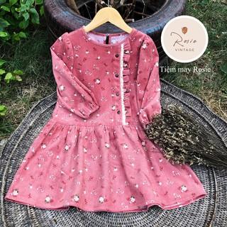 Đầm Bé Gái ROSIE - Đầm Nhung Hồng Hoa Nhí Cách Điệu Cúc Gỗ ROSIE V10