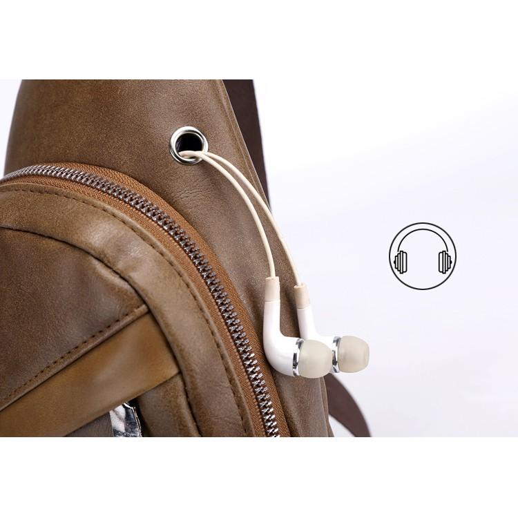 Túi đeo chéo nam da cao cấp có cổng sạc USB và lỗ tai nghe thời trang