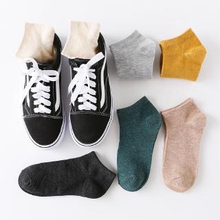 [Mã FASHIONCB94 giảm 10k đơn 0đ] Vớ cotton cổ thấp thiết kế phong cách thể thao nhiều màu trơn tùy chọn chất lượng 3