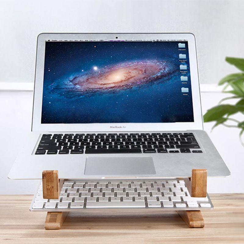 """Giá Đỡ Laptop Bằng Gỗ Có Thể Gấp Gọn Tiện Dụng Cho Apple Macbook Tablet Pc Notebook 15 """"- 17"""""""