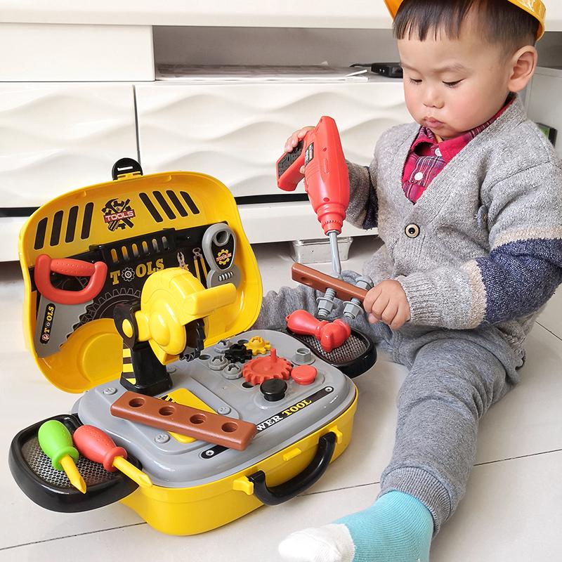 ♠✟Children's Toolbox toy set home repair and puzzle male baby 3,456-year-old boy screws