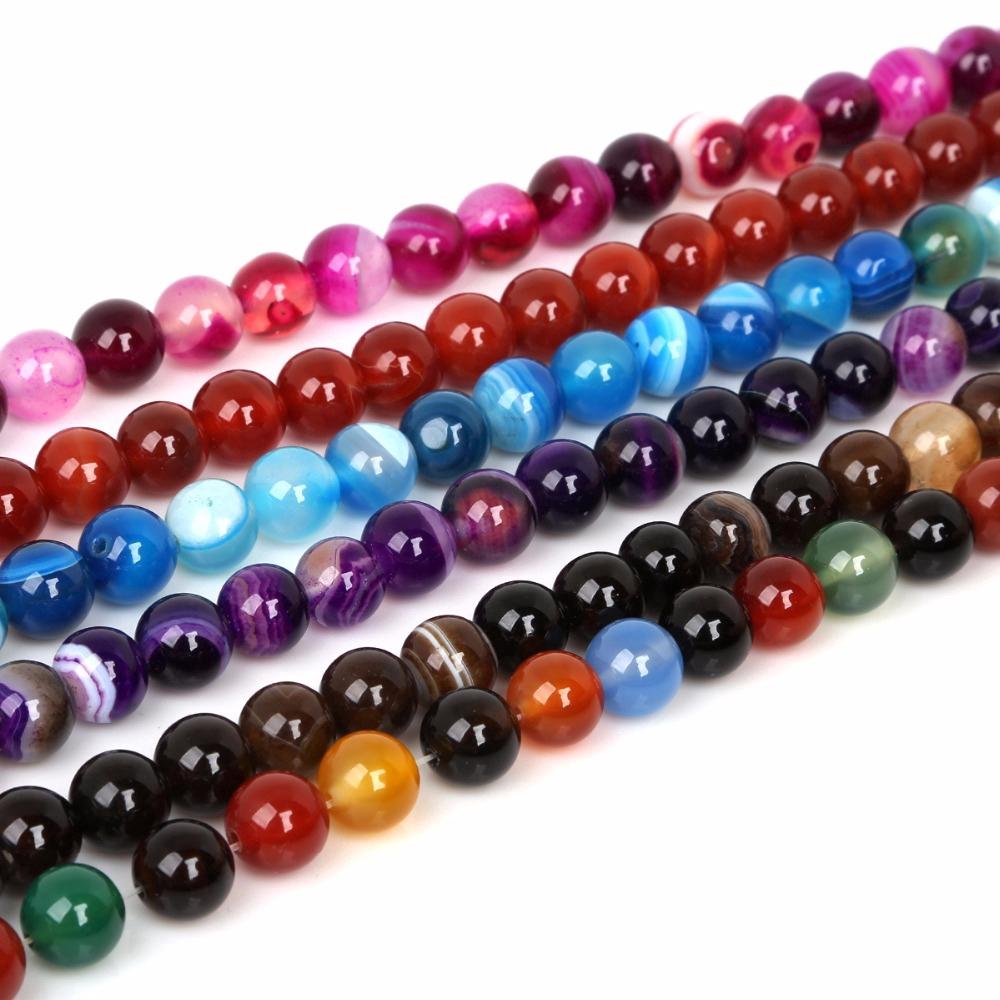 Dây chuỗi hạt đá mã não tự nhiên nhiều màu sắc 4mm 6mm 8mm 10mm dùng làm trang sức DIY
