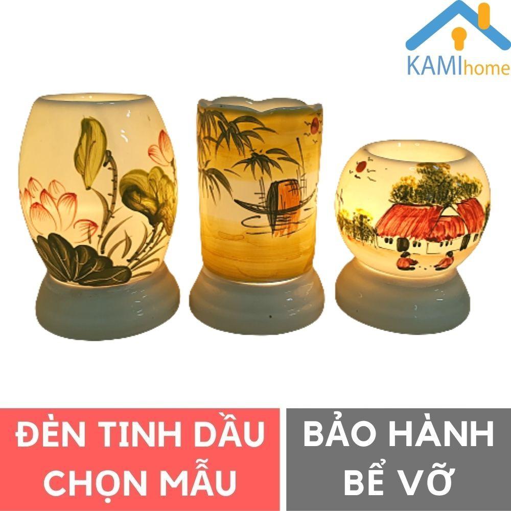 Đèn xông tinh dầu cắm điện thơm phòng đuổi muỗi hình Ống Trứng Tròn (Chọn Mẫu) sứ Bát Tràng Việt Nam