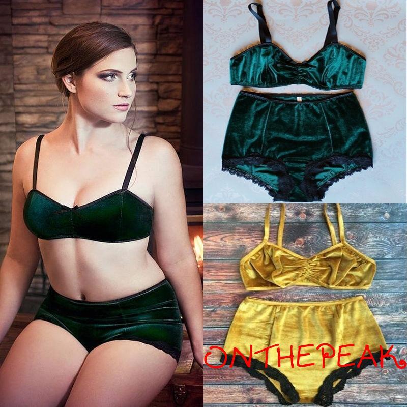 NNE-Sexy Deep V Vintage Push Up Bra Underwear Sets Vintage suede swimwear suits