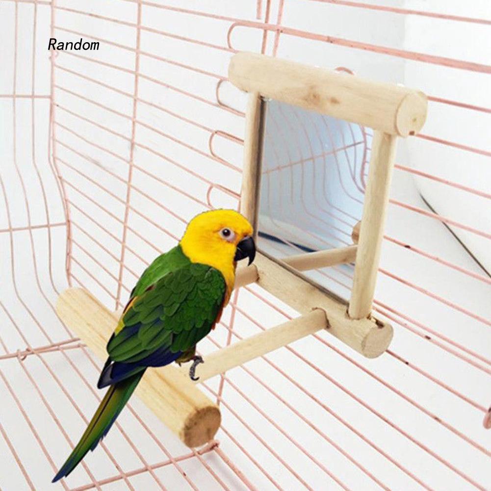 [RA]Funny Wooden Bird Toy Mirror Stand Platform Toys for Parrots Cockatiel Vogel