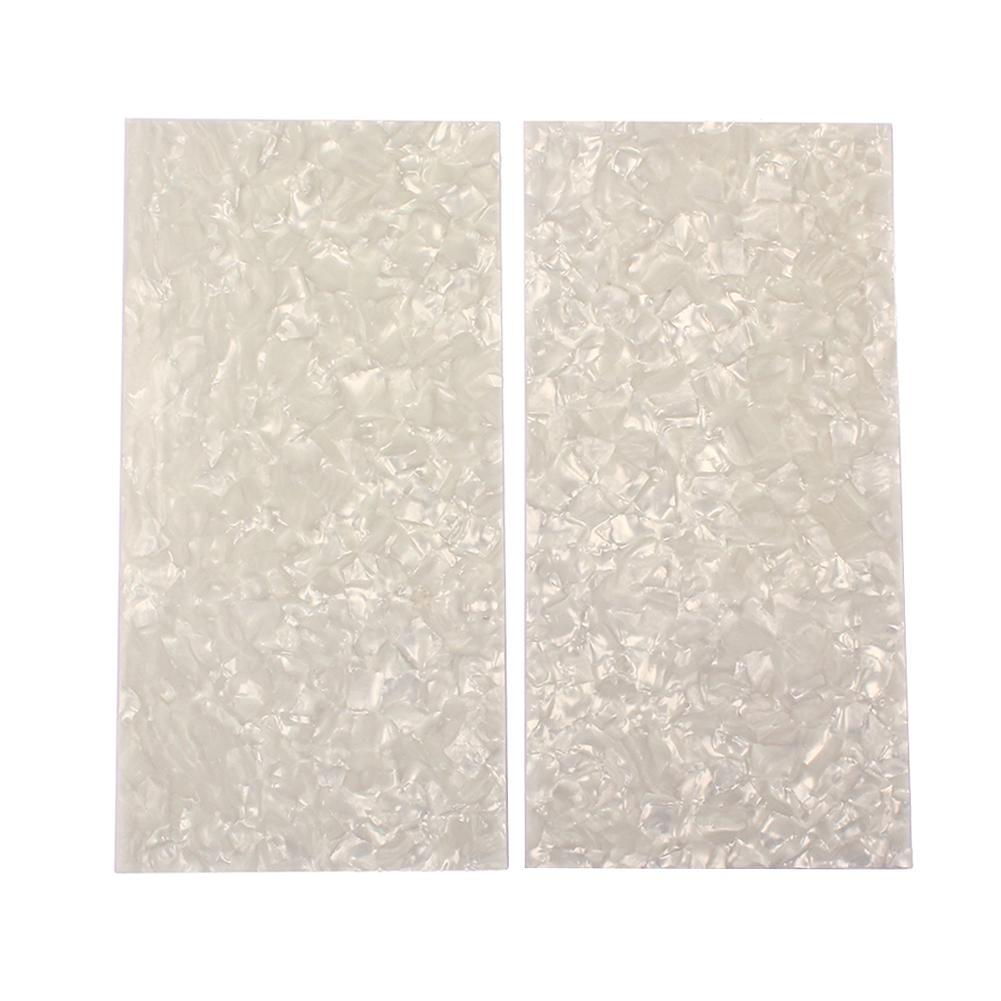 2pcs Celluloid Guitar Head Veneers White Pearl Shell Sheets Guitar Parts