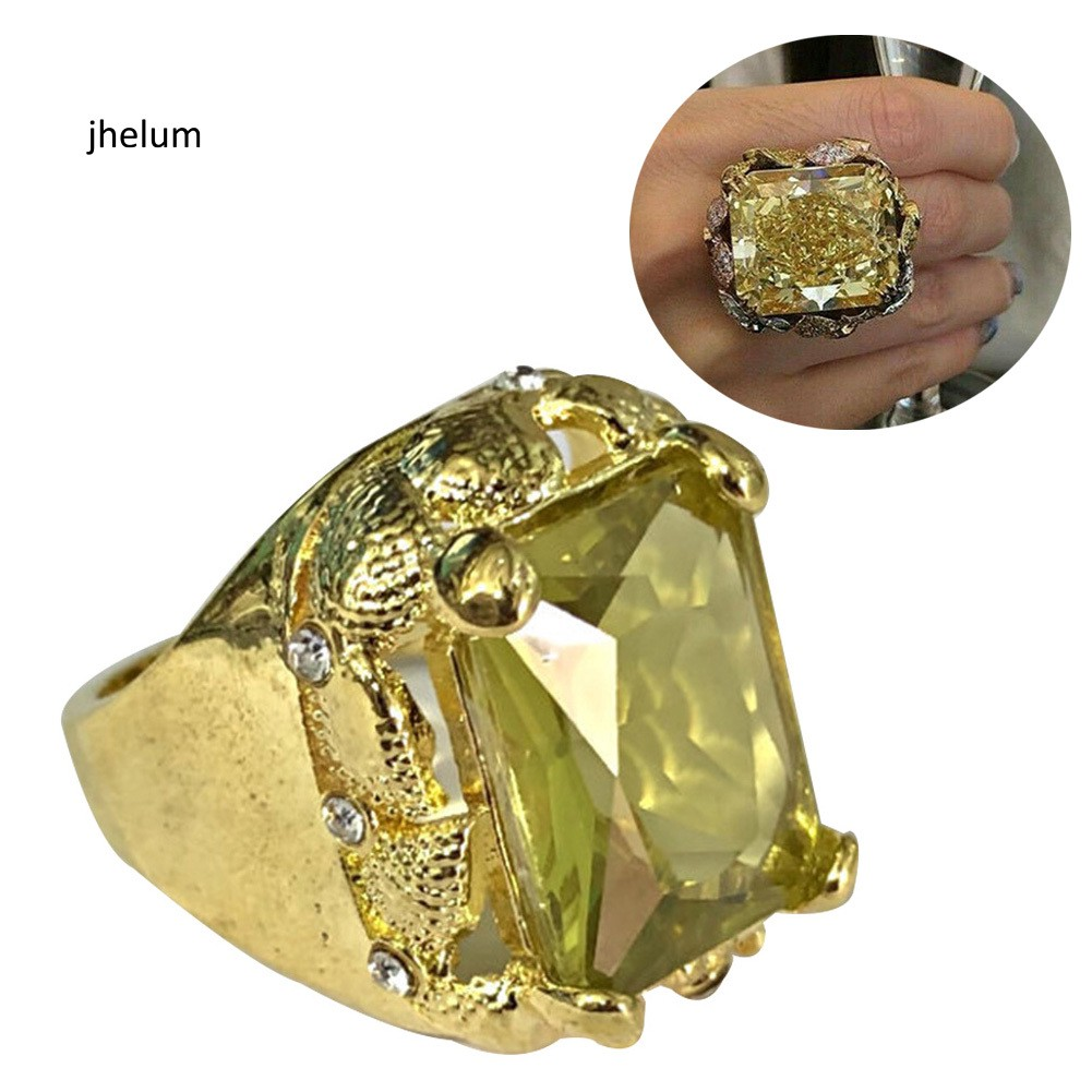 jhelim_Gorgeous Princess Cut Faux Huge Citrine Ring Unisex Wedding Engagement Jewelry