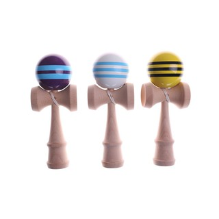 Striped Kendama With 3 Strings Colorful Painted Traditional Wooden Toy