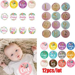 BS 12pcs/lot Newborn Photo Props Month Age Digital|Projects Gilding Monthly Stickers