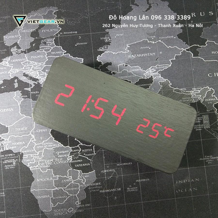 Đồng hồ led để bàn, đồng hồ gỗ led hình chữ nhật