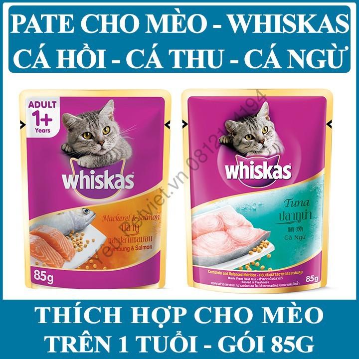 [USA] Pate Whiskas - Combo 5 GÓI Vị Cá Thu+Cá Hồi Hoặc Vị Cá Ngừ - Mỗi Gói 85g