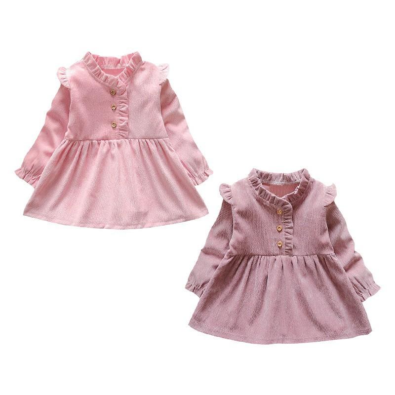 Đầm dài tay viền xếp ly dễ thương cho bé gái
