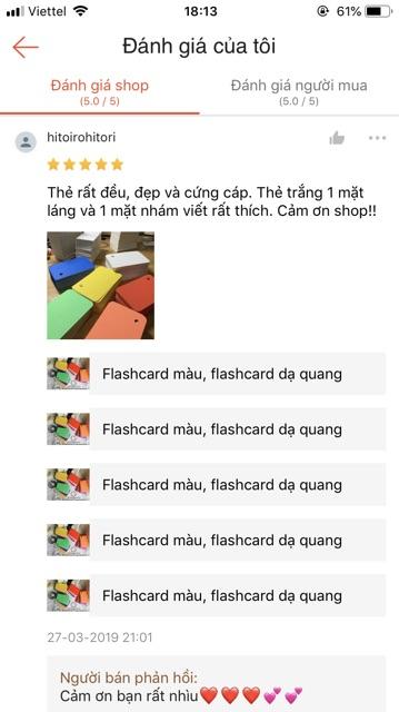 Flashcard trắng học ngoại ngữ Anh Nhật Hàn Trưng Đức Pháp 4 màu như hình