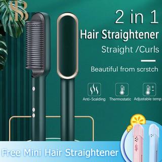 Ready Stock Máy Duỗi Tóc Lược Máy Duỗi Tóc Máy uốn tóc 2 trong 1 Máy uốn tóc thẳng Bàn chải duỗi tóc Máy duỗi tóc Công cụ tạo kiểu Lược chải tóc Máy ép tóc Lược thumbnail