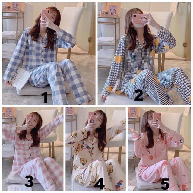 [Sẵn hàng]Bộ đồ ngủ Pijama dài tay thu đông mẫu mới hot nhất (video cận chất)