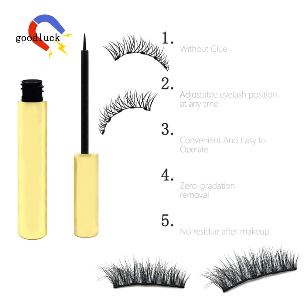 GLK_Magnetic Liquid Eyeliner with 5 Magnet Faux Eyelashes Long Lasting Cosmetics