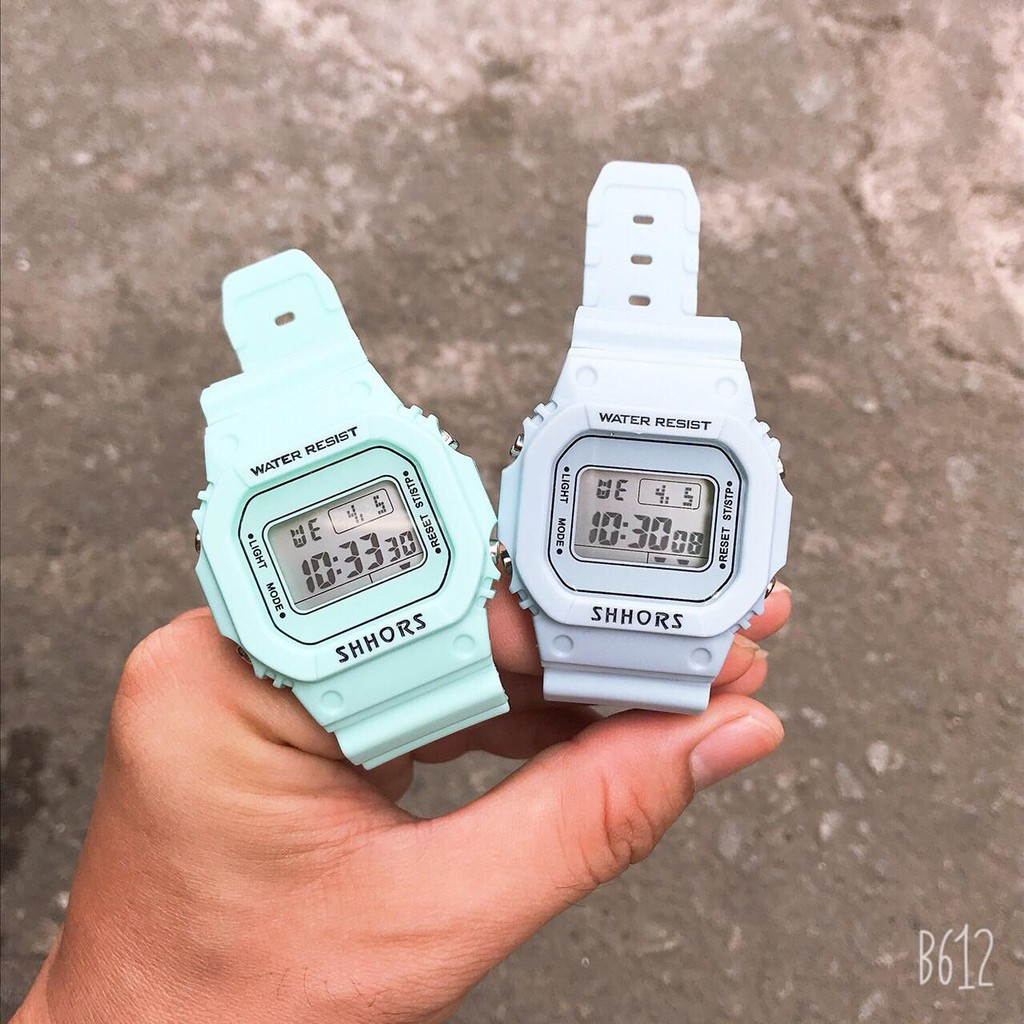 Đồng hồ nữ điện tử SHHORS dây nhựa chống nước phong cách Hàn Quốc