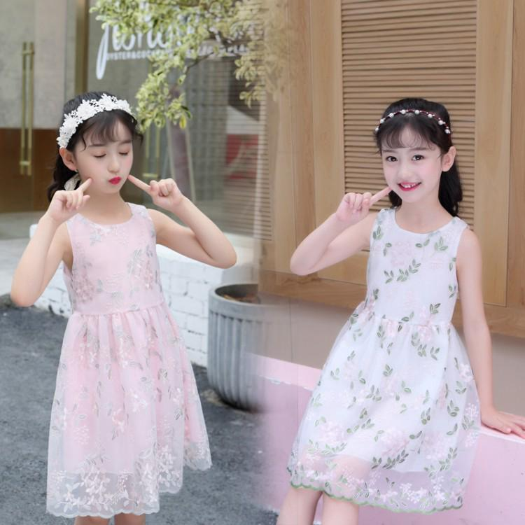 Light and sweet children's summer dress, high quality embroidered chiffon dress
