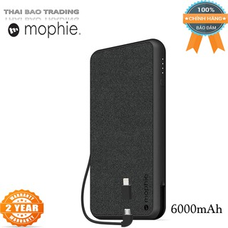 PIN DỰ PHÒNG MOPHIE POWERSTATION PLUS 6000mAh - Qi Wireless Charging with Built in Micro USB and Lighning Cables - Black