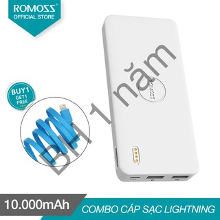 Pin sạc dự phòng 10.000mAh Polymos 10 Air ROMOSS (Trắng) + Cáp lightning Romoss CB12f dài 1m – 123shop