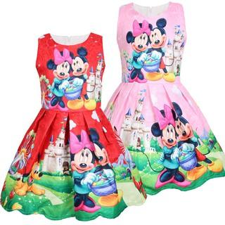 Đầm bé gái in hình chuột Minnie 3-8 tuổi không tay 100-140cm