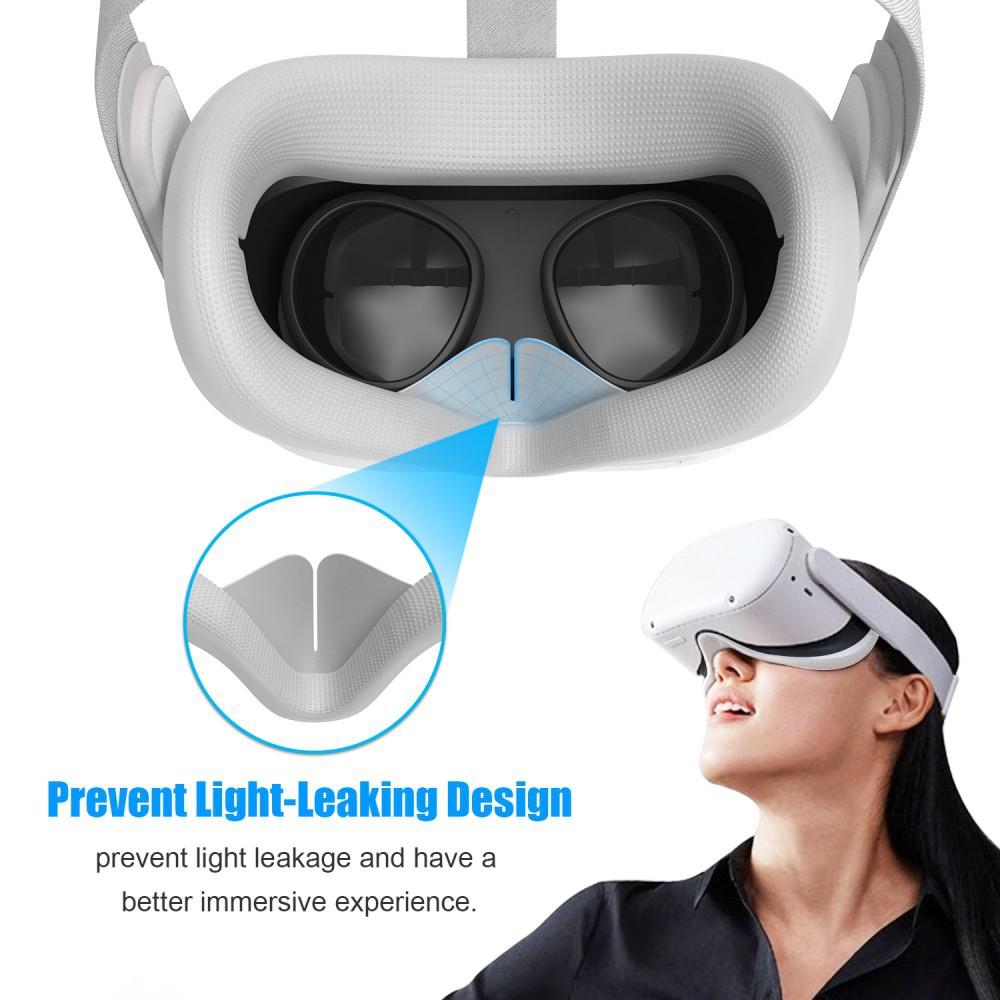 Phụ kiện đệm mắt silicon mềm VR cho kính thực tế ảo Oculus Quest 2 và ống kính Quest2 chặn ánh sáng tiện dụng / chống mồ hôi