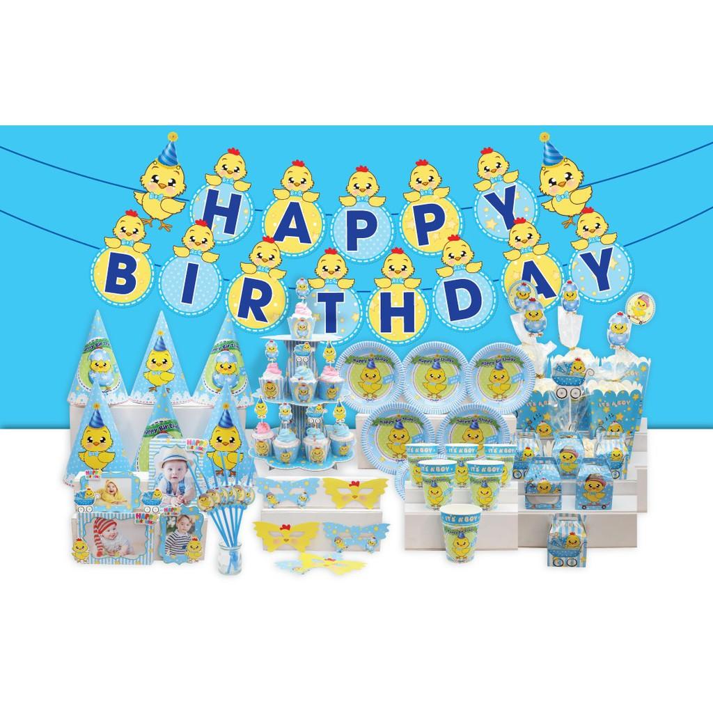 Set trang trí sinh nhật đầy đủ (chủ đề Gà Xanh)