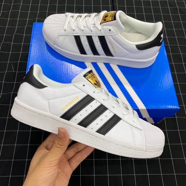 Superstar mũi sò tem vàng [lót xanh, da đẹp] Giày thể thao nam nữ trắng đen