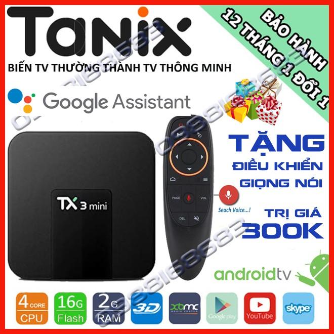Android Tivi Box TX3 mini phiên bản 2G Ram và 16G bộ nhớ trong, AndroidTV, kết nối điện thoại - Tặng kèm ĐK giọng nói