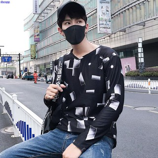 Men's long-sleeved T-shirt men's bottoming shirt (.% polyester fiber .% spandex)