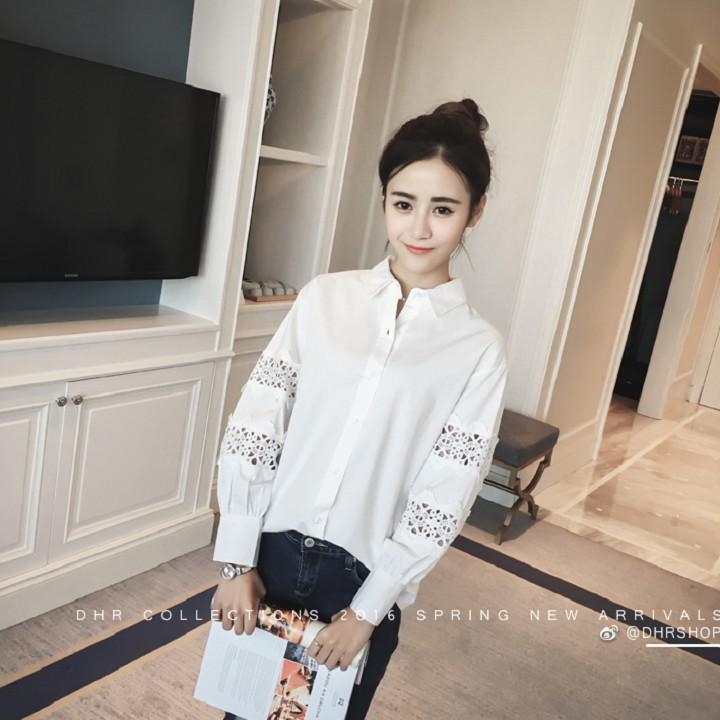 Áo sơ mi phối ren thời trang Hàn Quốc - ASMN19.0011