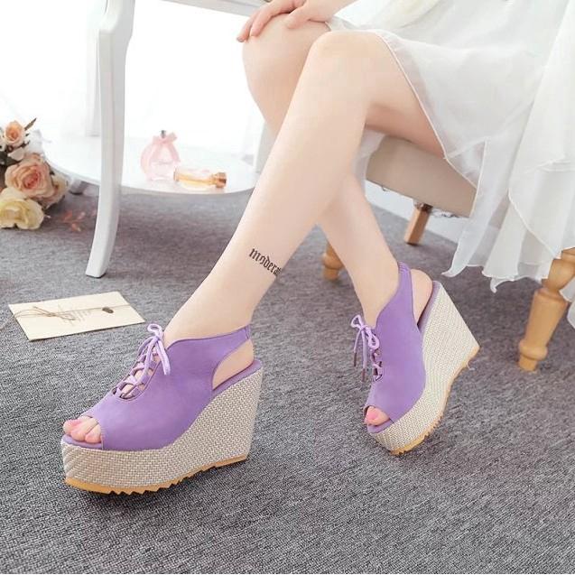 Sandal đế xuồng phối dây thắt phong cách Hàn Quốc cho nữ