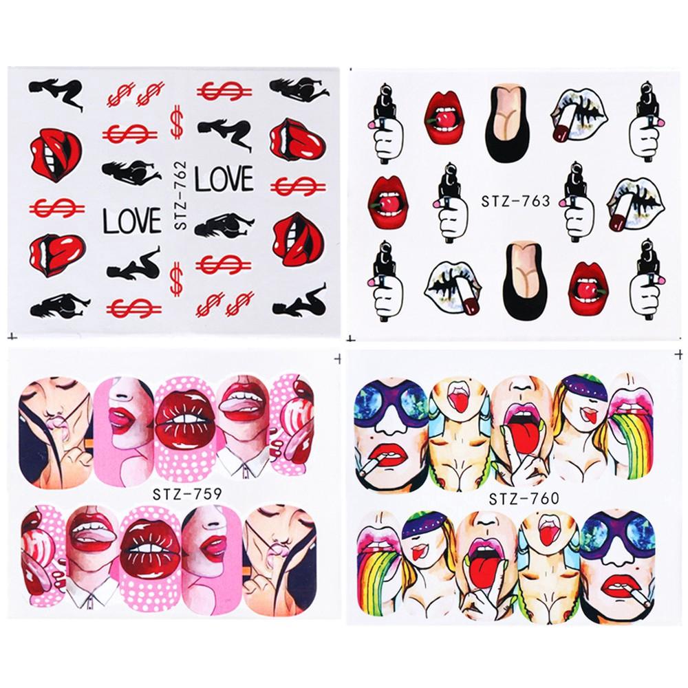 Bộ 9 tấm sticker họa tiết đôi môi quyến rũ dịch chuyển trong nước chuyên dụng trang trí móng cho nữ
