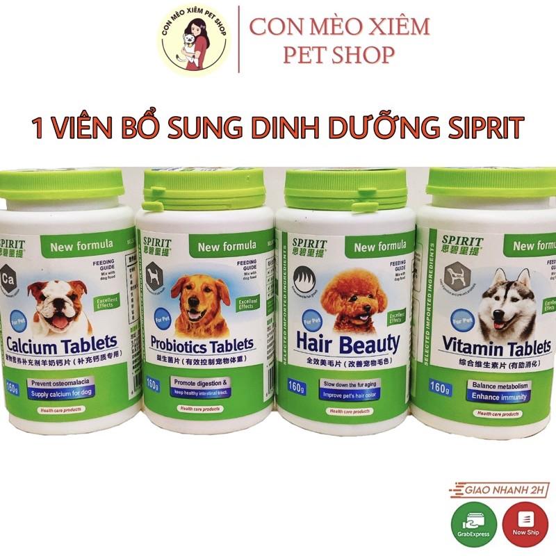 Viên SIPRIT dinh dưỡng cho chó Canxi, đẹp lông da, Vitamin, Tiêu hoá - Thực phẩm SPIRIT dinh dưỡng cho cún Con Mèo Xiêm - Viên canxi