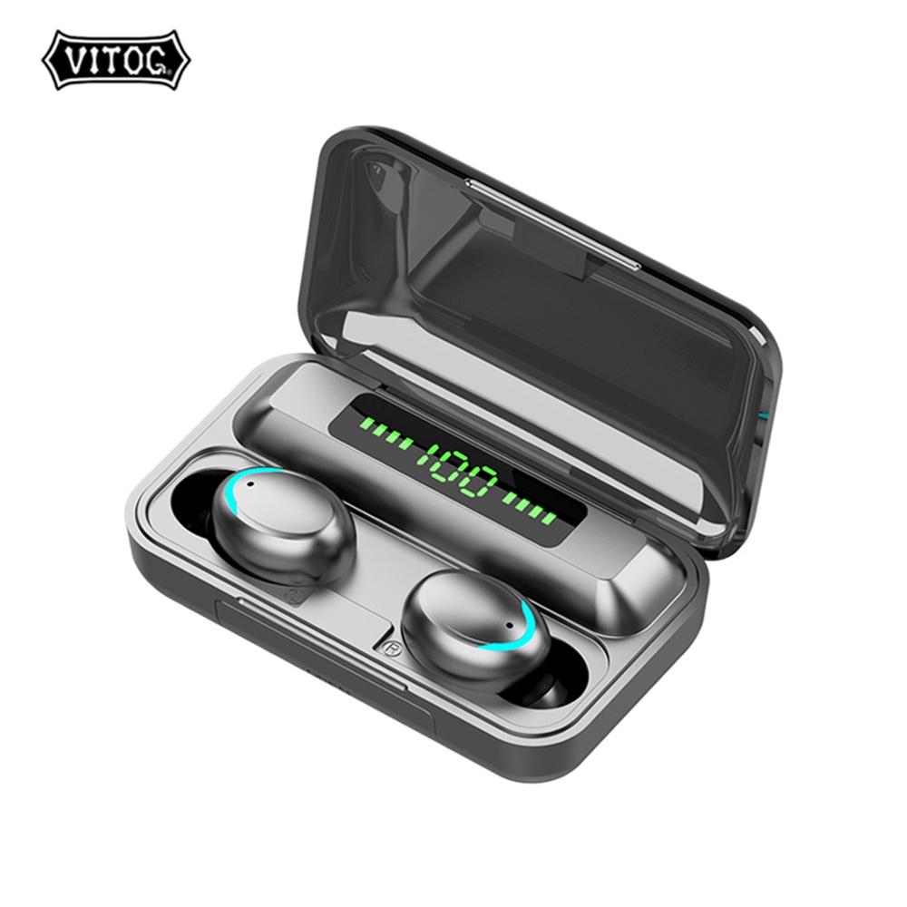 Tai Nghe Vitog F9-5c Bluetooth V5.0 Không Dây Có Microphone Chống Thấm Nước 2200mah Kèm Hộp Sạc