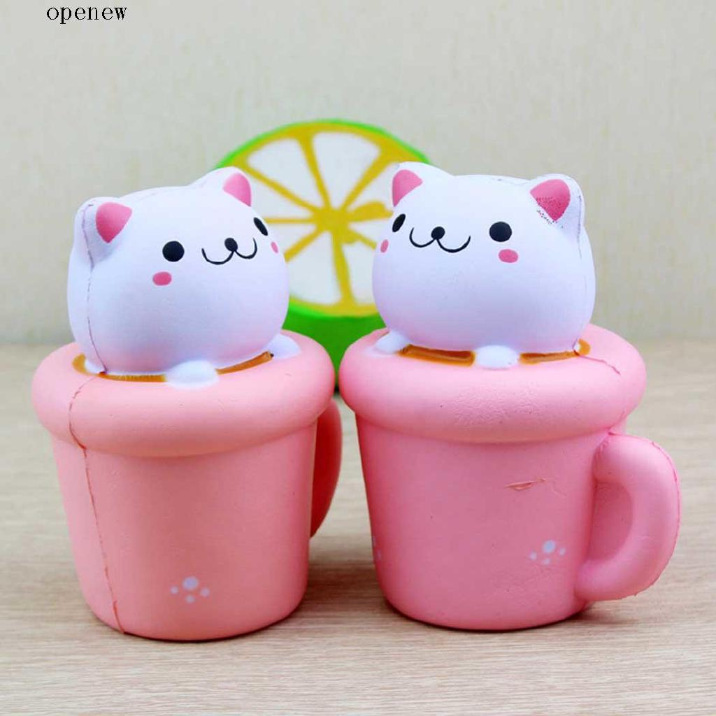 op Hot Jumbo Squishy Cat Cup Shape Fruit Scented Super Slow Rising Keyring Kid Fun Toy