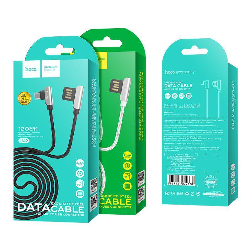 Cáp Micro USB Hoco U42 ✓ Kết cấu kim loại mạnh mẽ ✓ Hai mặt USB 2.4A