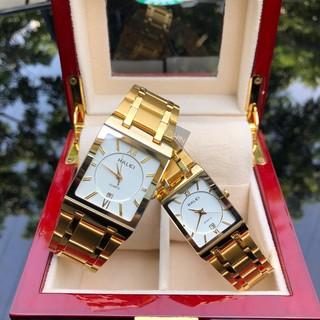 đồng hồ đôi nam nữ halei HLDL01 mặt vuông chống nước chống xước,tặng kèm vòng tì hưu