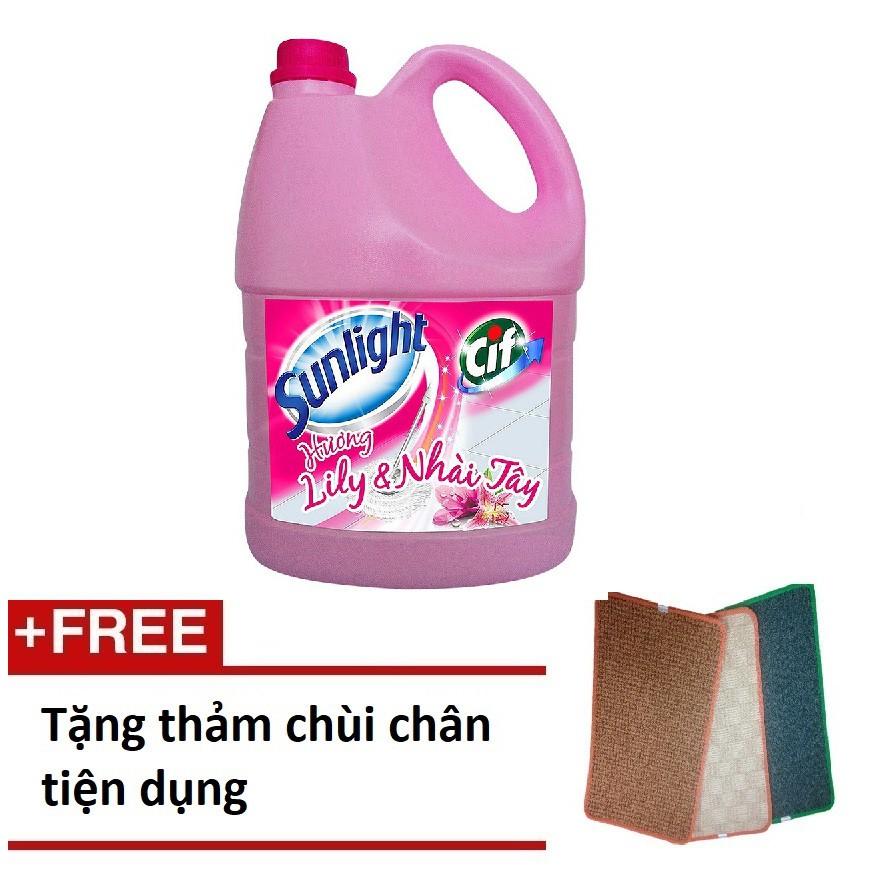 [QUÀ] Nước lau sàn Hương Lily & Nhài Tây chai 3.8kg + Tặng thảm chùi chân tiện dụng (MSP 67125179)