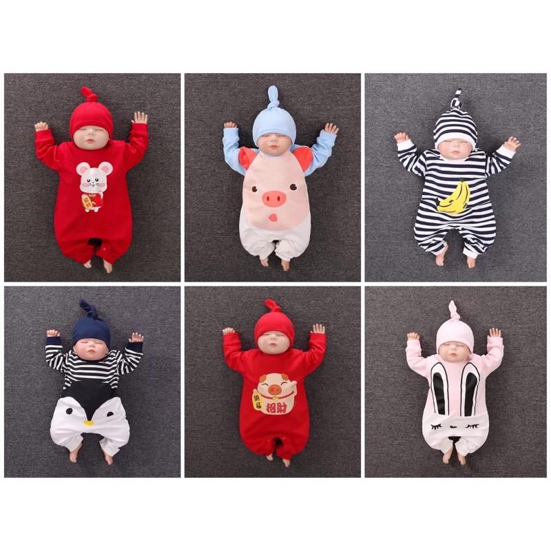 Bộ body liền thân kèm mũ cho bé
