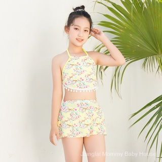 ✨Spot✨5-9Year-Old Fashion Vigorous Children's Swimwear Middle and Big Children Girls Split Cute Girl Beach Children's Swimsuit。