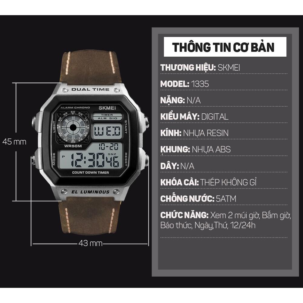 Đồng hồ Nam SKMEI 1335 điện tử bản dây da