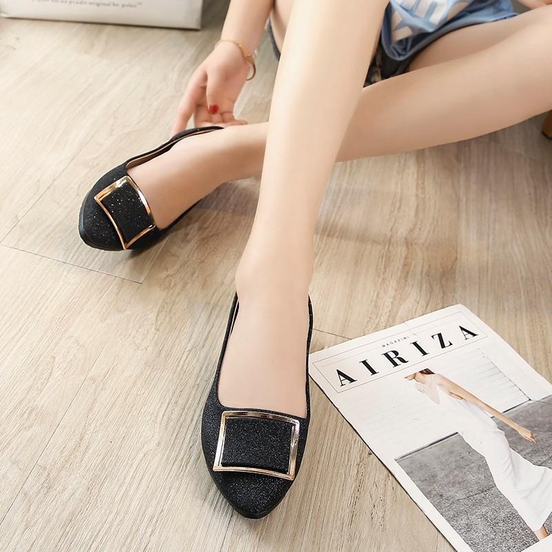 Giày Búp Bê Đế Bằng Miệng Nông Kiểu Hàn Quốc Thời Trang Cho Nữ Dễ Phối Đồ