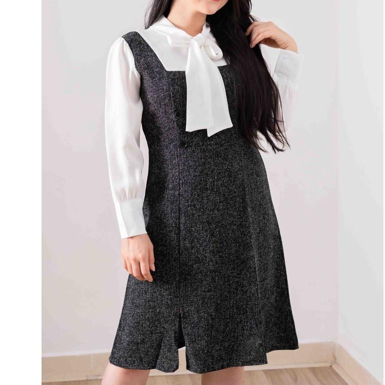 Mặc gì đẹp: Sang trọng với Đầm chữ A tay pha màu trắng - Váy thiết kế thời trang Hàn Quốc (hình thật/video)-Đầm công sở cao cấp Juka