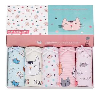 Set 5 quần xì trẻ em Hàn Quốc 100% vải cotton thoáng mát, an toàn cho sức khỏe mẫu Mèo Con TangMeng dành cho bé gái