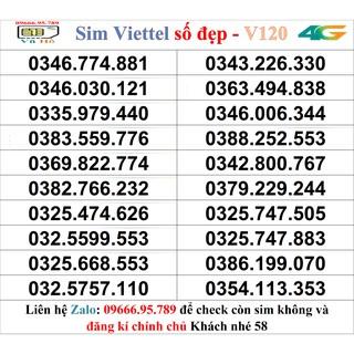 Sim Viettel V120 đầu 09 số đẹp giá rẻ 58