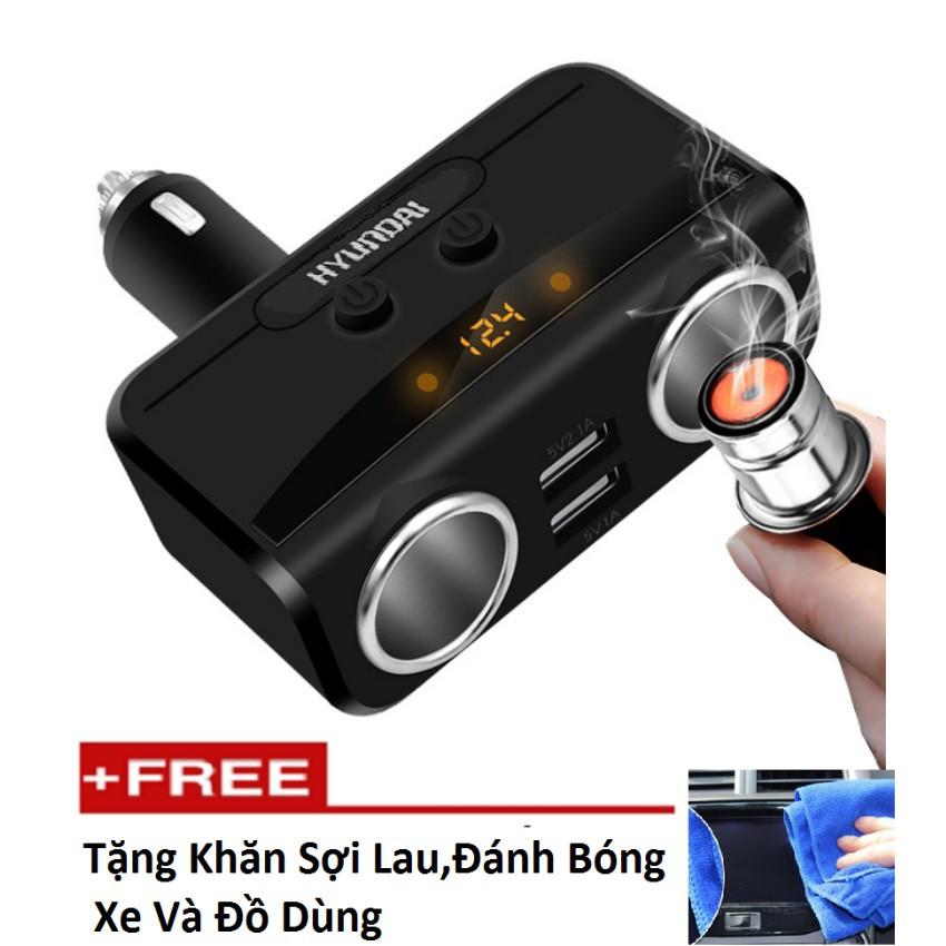 Bộ chia tẩu sạc oto, xe hơi cao cấp 2 tẩu - 2 cổng USB HYUNDAI có Led báo ắc quy tặng khăn lau xe - 3088283 , 841457522 , 322_841457522 , 456000 , Bo-chia-tau-sac-oto-xe-hoi-cao-cap-2-tau-2-cong-USB-HYUNDAI-co-Led-bao-ac-quy-tang-khan-lau-xe-322_841457522 , shopee.vn , Bộ chia tẩu sạc oto, xe hơi cao cấp 2 tẩu - 2 cổng USB HYUNDAI có Led báo ắc quy