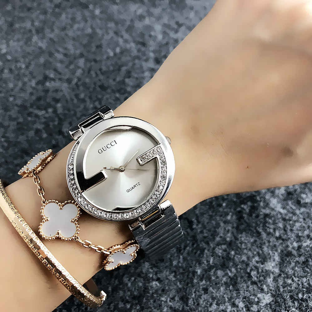 GUCCI classic fashion casual stainless steel strap gift preferredผู้หญิงดู