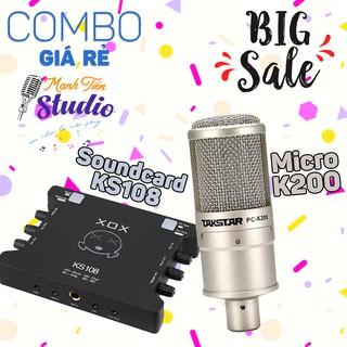 [COMBO FULL PHỤ KIỆN] Soundcard KS108 - Micro thu âm cao cấp PC K200 chuyên hát live stream fb, bigo, cctalk