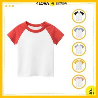 Áo thun cộc tay cho bé ⚡ CHÍNH HÃNG ⚡ 4LOVA áo phông bé trai phối màu tay kiểu dáng basic từ 8 - 40kg